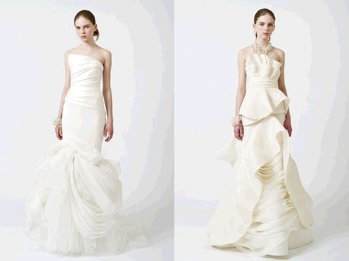 Gorgeous ivory strapless wedding dresses, with architectural layering, from Vera Wang