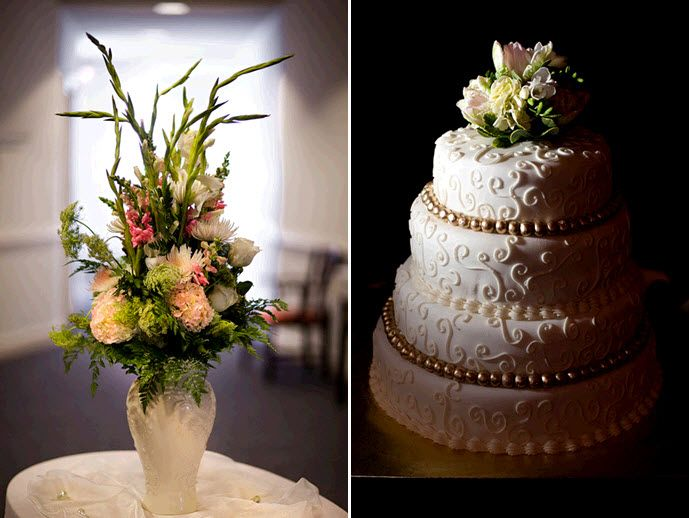 Gorgeous three tier ivory classic wedding cake; high floral centerpiece for wedding reception