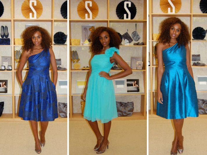 Vibrant one-shoulder asymmetric knee-length bridesmaids dresses in ocean hues