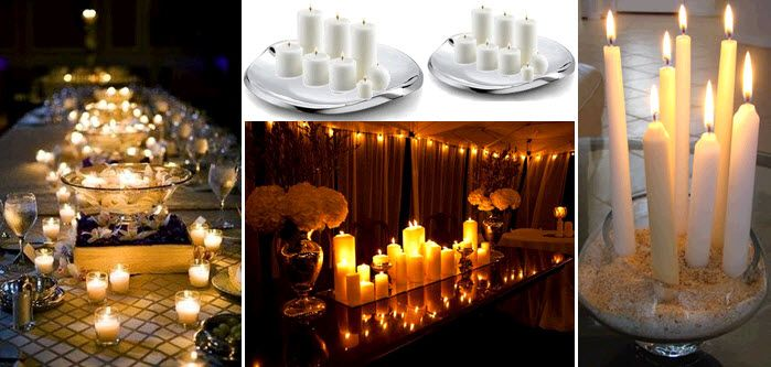 Inexpensive romantic wedding decor idea white candles Posted in DIY