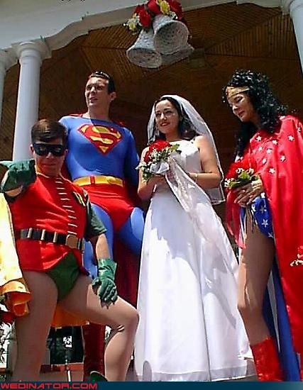 This brie is wearing a traditional wedding dress, but her wedding party seems to be comprised of the