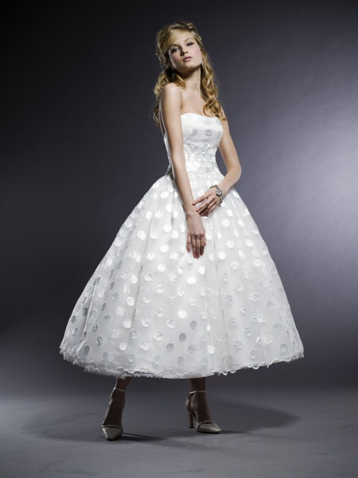 Gorgeous Michelle Roth strapless tea-length wedding dress with full ballgown skirt made from dotted