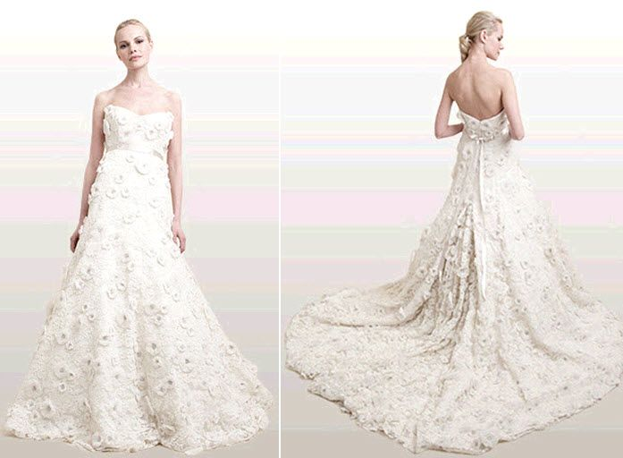 Georgia wedding dress: alencon lace and duchess satin full a-line gown with 3-d floral embellishment