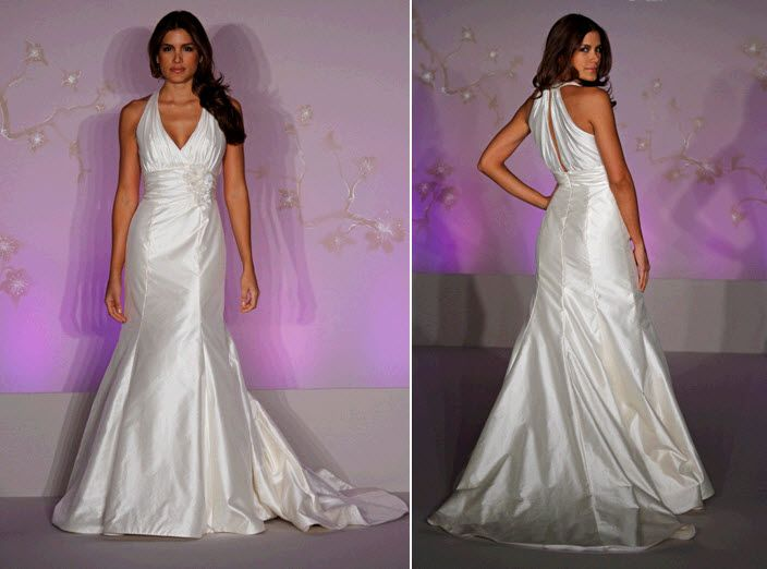 Ivory halter wedding dress with mermaid silhouette and keyhole back