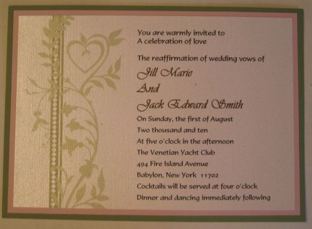 options for a wedding invitation for the stealth wedding or vow renewal