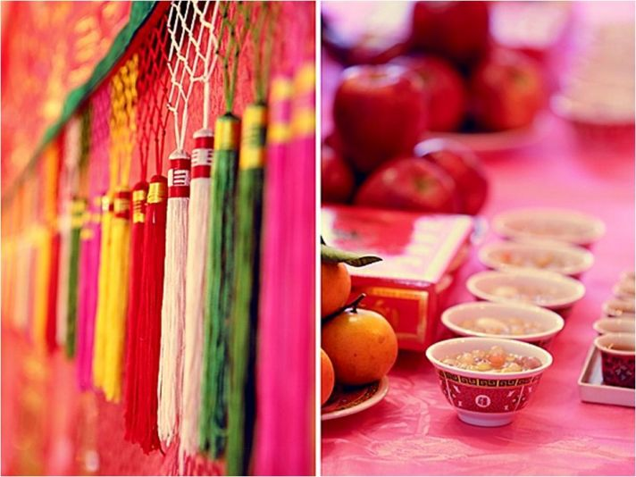 Vibrant wedding decor details from this traditional Chinese wedding with modern touches