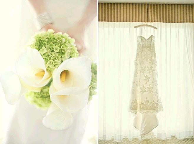 Bridal bouquet of ivory calla lilies and green hydrangeas; bride's ivory sweetheart neckline wedding