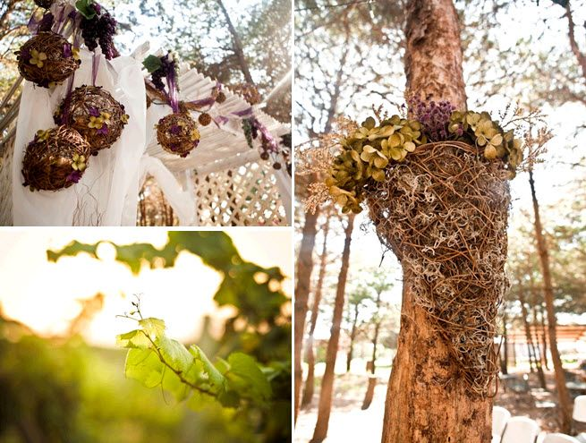 Rustic twig pomander balls hang on winery trees, and were made by the bride