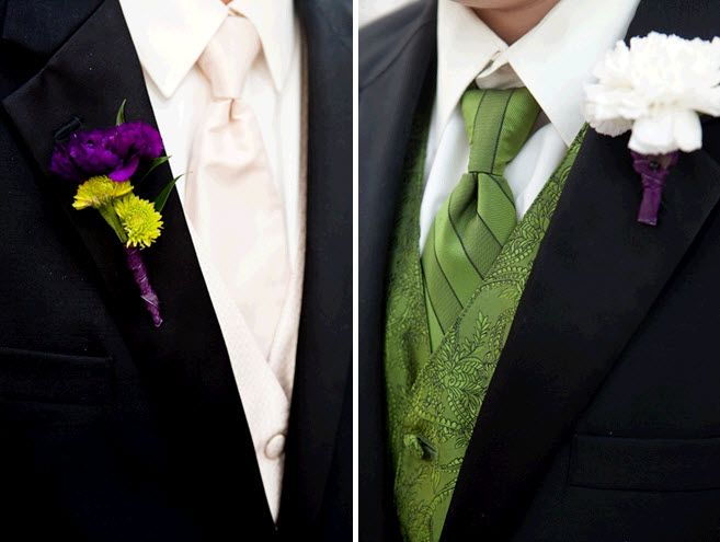 Groom and groomsmen wedding day attire- cream tie, green vest, vibrant purple bout