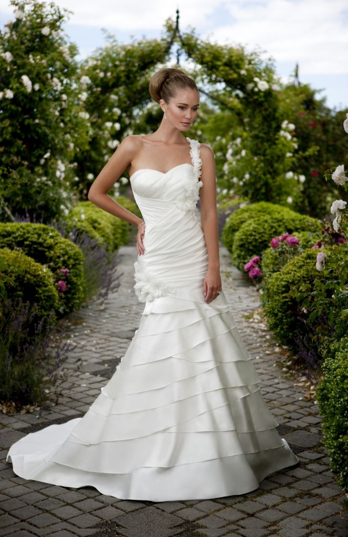 Essense of Australia mermaid wedding dress with asymmetric neckline and tiered skirt