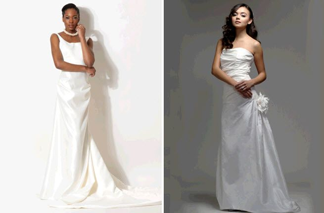 Simple and stunning white wedding dresses by Elizabeth St. John Couture