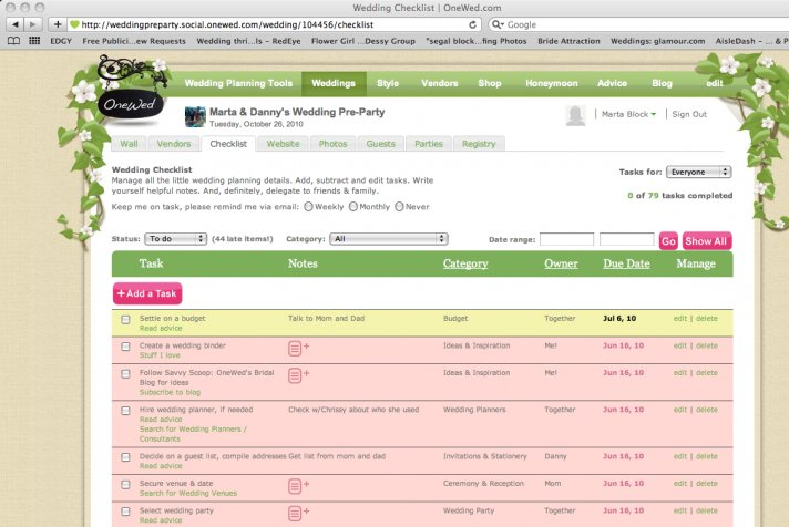 OneWed's Wedding Checklists Keep Track of All You Have to Do