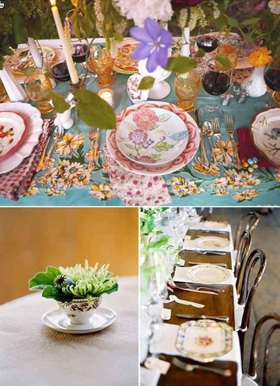 Mix and match vintage china for an eco-friendly chic bridal shower