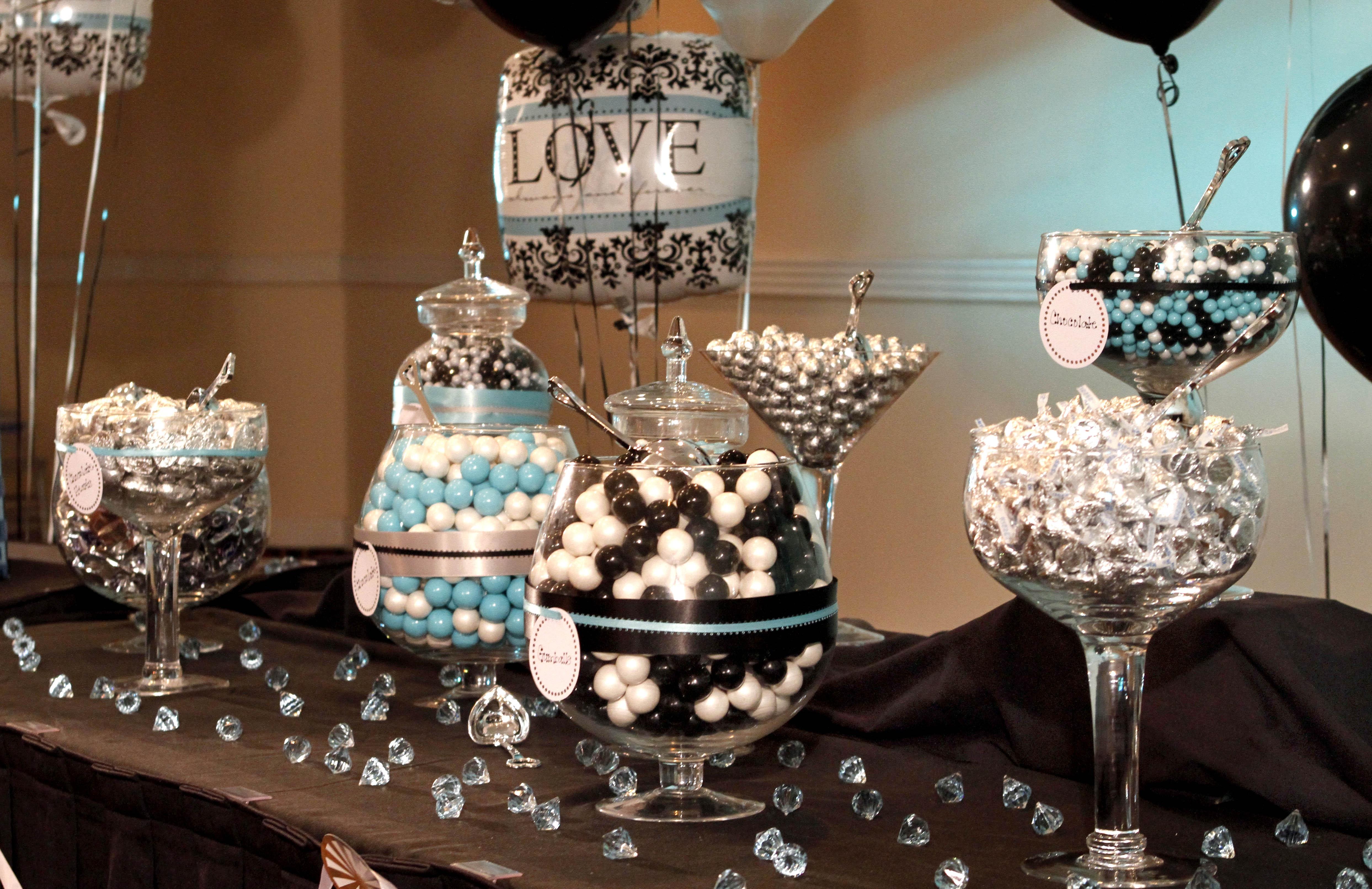 June 39 s anniversary on pinterest turquoise wedding decor for Black and white wedding decor