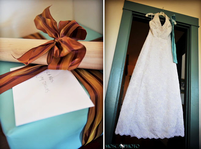 Ivory halter lace wedding dress with blue sash tiffany blue and chocolate
