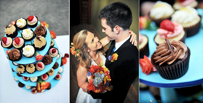 Delicious, bright cupcake tree with assorted desserts for wedding guests