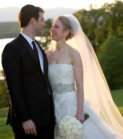Chelsea Clinton said I Do in a laser cut silk organza wedding dress by Vera Wang