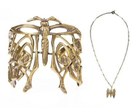 Adorable and eco-friendly recycled gold butterfly cuff and necklace