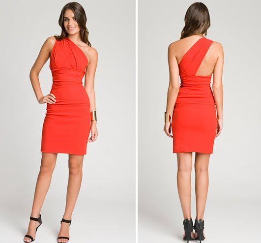Gorgeous bright orange-red one-shoulder designer dress from Rent the Runway