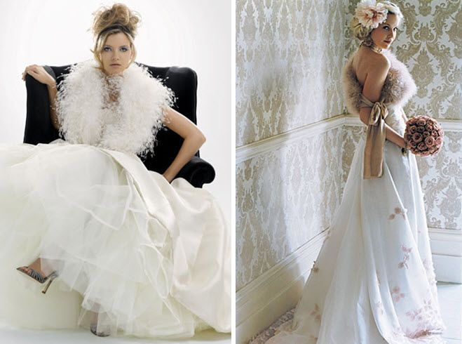 Fur caplets and shawls for your winter wedding bridal look