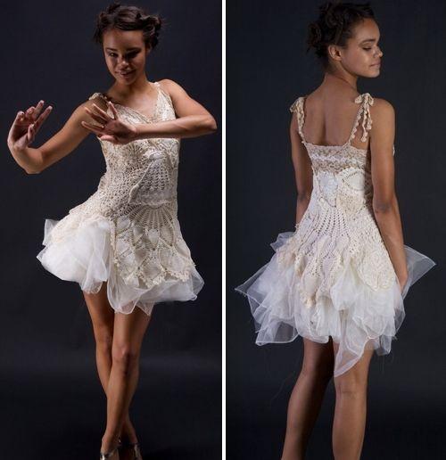 One-of-a-kind handmade ivory doily cocktail dress