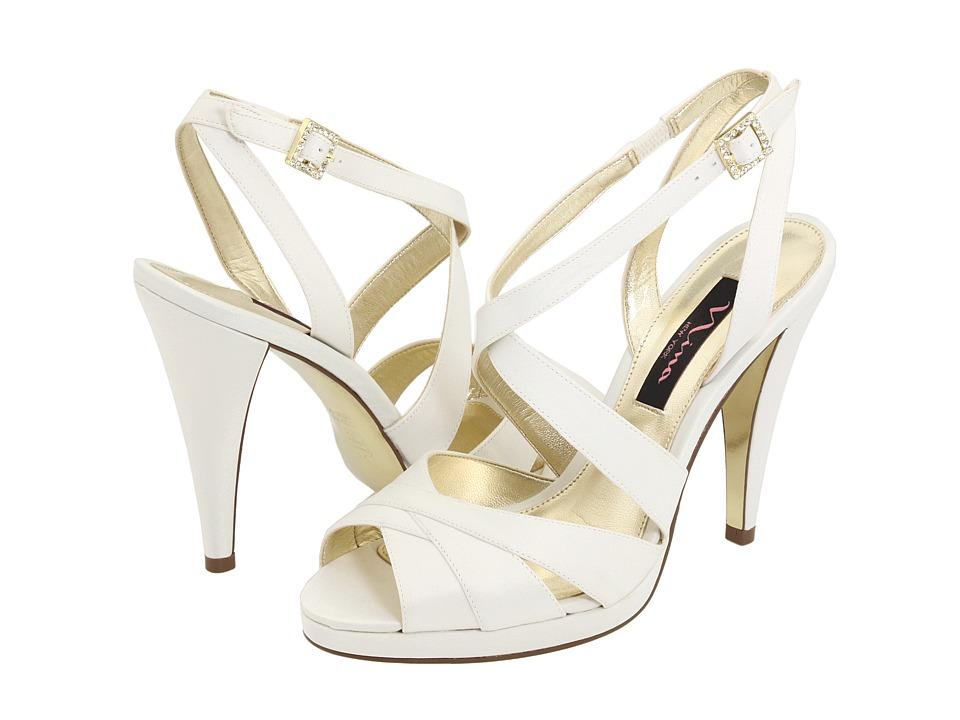 Strappy white opentoe high heel bridal shoes by Nina