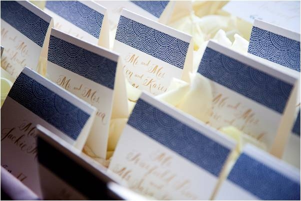 navy-blue-ivory-gold-escort-cards-at-wedding-reception