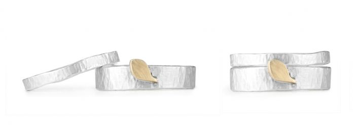 Eco-chic sustainable hammered silver wedding bands