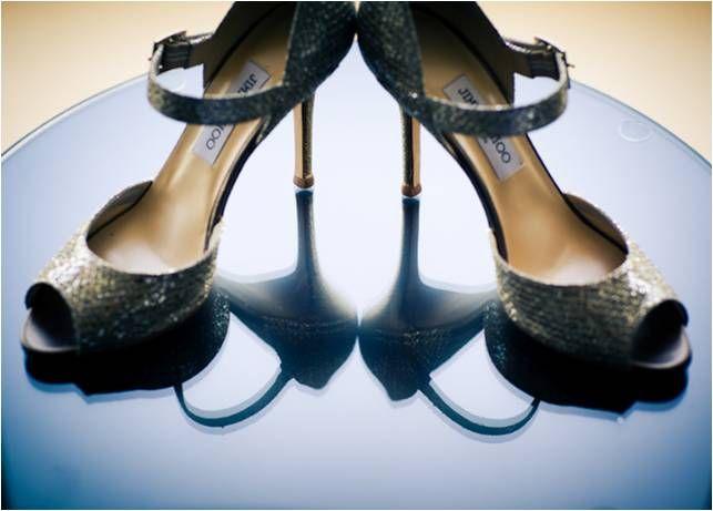 Chic bridal shoes- sky high peep toe Jimmy Choos in a dark metallic hue