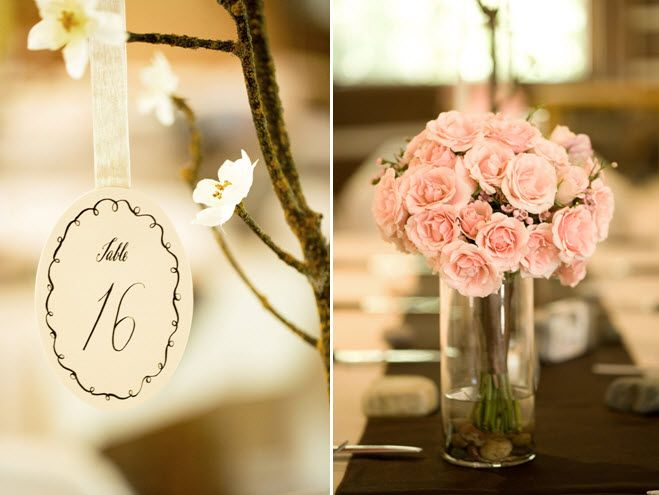 Romantic wedding reception decor light pink roses for table centerpiece