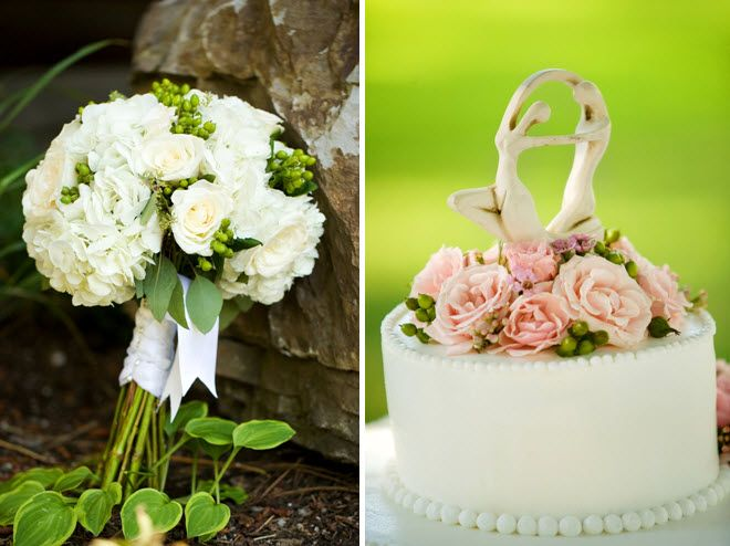 Traditional ivory and green bridal bouquet; classic white wedding cake with light pink roses on top