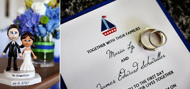 Bride and groom's custom wedding Miis for the wedding cake topper; nautical-inspired wedding invitat