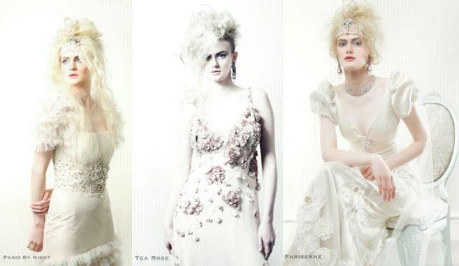 English rose wedding dresses- stunning jeweled cummerbund, vintage-inspired puff sleeves, clusters o