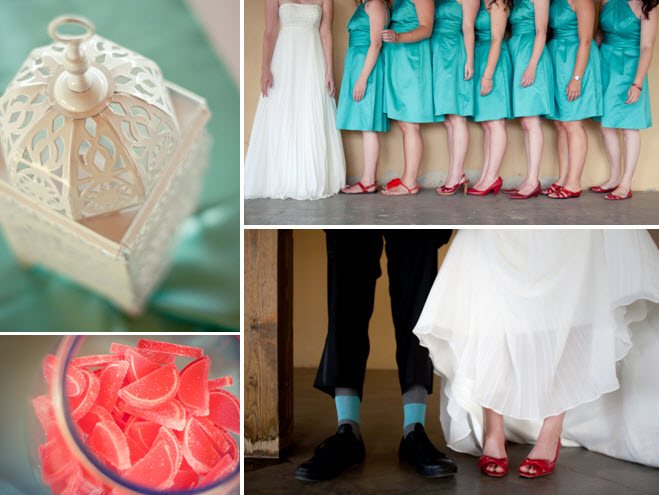 Bridesmaids wear teal kneelength frocks and red shoes bride wears ruby red