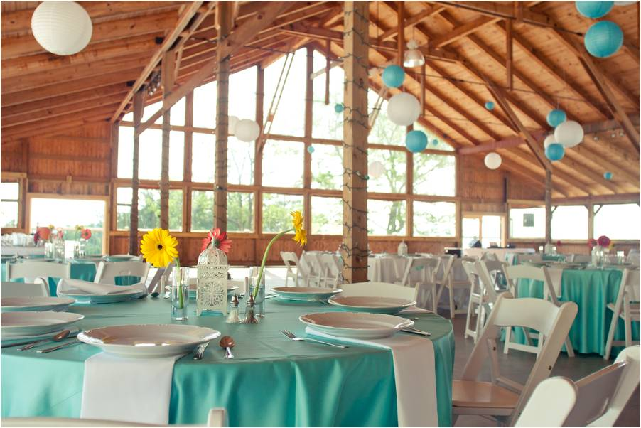 Rustic lodgelike wedding venue in Virginia decorated with white and teal