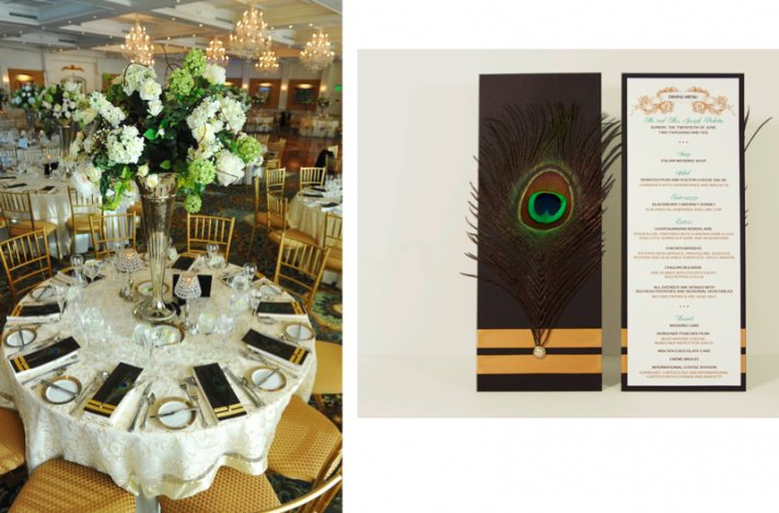 The peacock design element was carried over to the wedding menus.