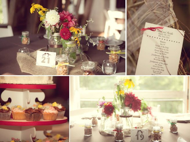 Gorgeous down home wedding decor details- colorful wild flowers, wedding programs with burlap accent