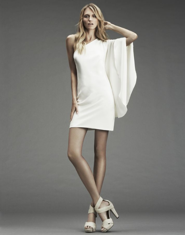 60's-inspired one-shoulder white mini dress by Nicole Miller