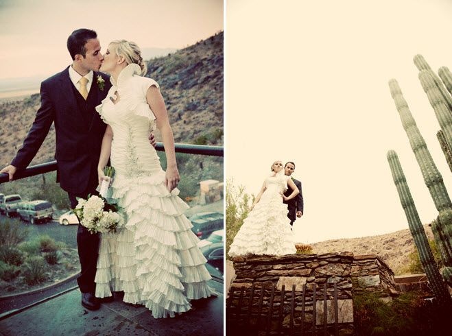 Bride and groom kiss during Arizona sunset, with mountains and cacti in backdrop