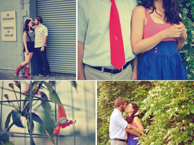 Bride in red striped shirt, blue skirt, cowboy boots, groom wearing red tie, get frisky for e-sessio