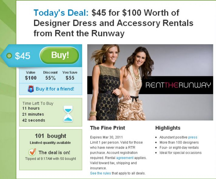 Rent $100 worth of designer dresses and accessories for only $45!
