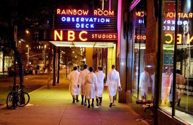 Best Man and groomsmen wear robes, walk down NYC street to NBC studio