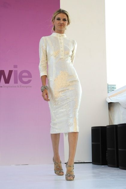 This L'Wren Scott dress with a mandarin collar is perfect for a more mature or casual bride.