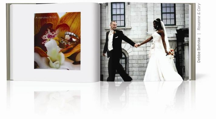 This bride and groom run toward their wedding day in their make your own wedding album from Blurb.