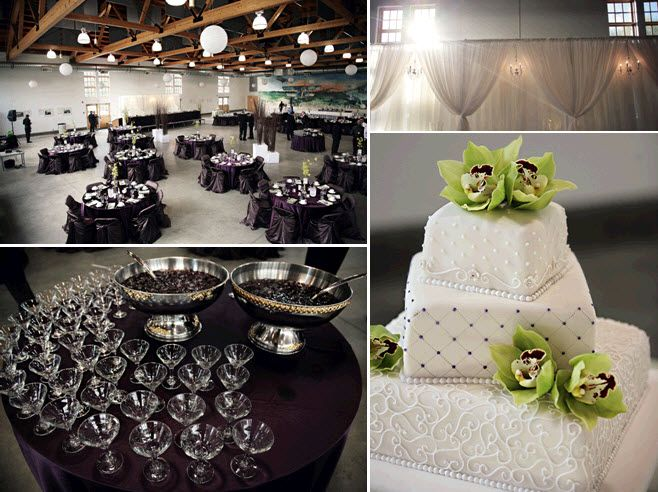 Chic wedding reception decor white green purple with crystals galore