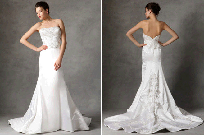 Score this strapless beaded fit and flare Reem Acra wedding dress from Gilt