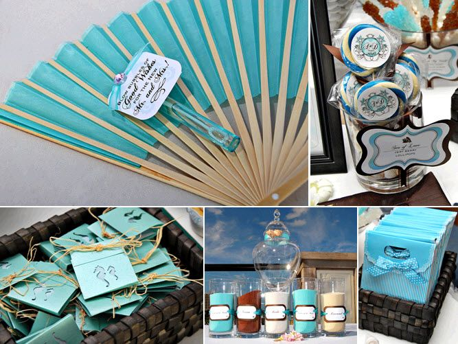 Outdoor Long Branch beach-themed wedding- aqua wedding programs and lovely fans