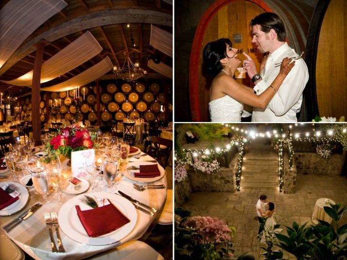 Opulent winery wedding reception table decor- deep red, gold, and peacock feather details