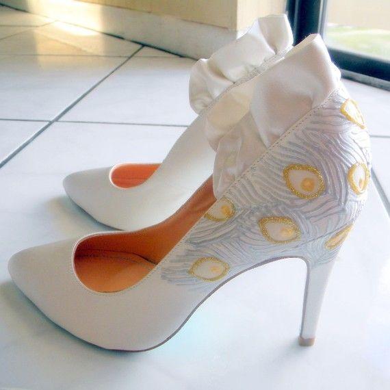 White satin high heel bridal pumps with ruffle detail