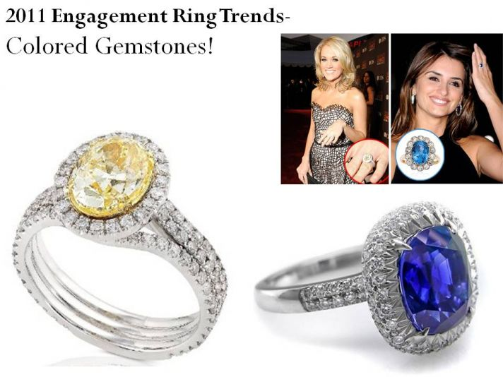 Engagement rings featuring colored gemstones is a big trend for 2011!